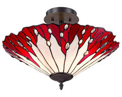 """Tiffany Red Flower 18"""" Wide Tiffany Style Glass Ceiling Light traditional-ceiling-lighting"""