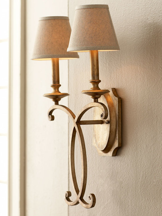 Lighting - Two-light sconce with an airy flourish features a hand-applied silvery-gold metallic finish. Each light is topped with a beige linen hardback shade. Imported.