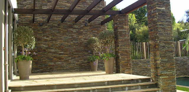 Terrace with real stone contemporary-patio