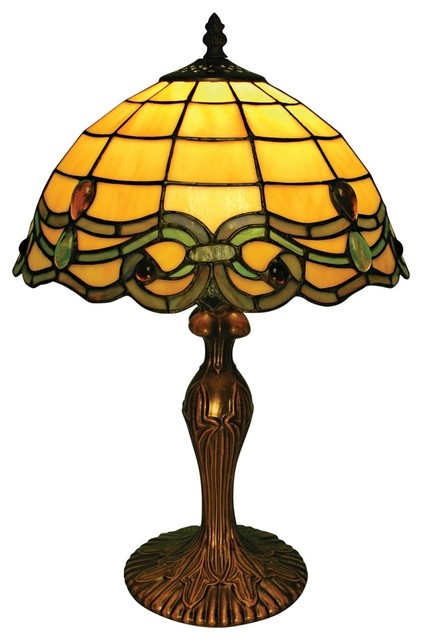 Country - Cottage Vanilla Green Blue Baroque Tiffany Style Accent Table Lamp traditional-table-lamps