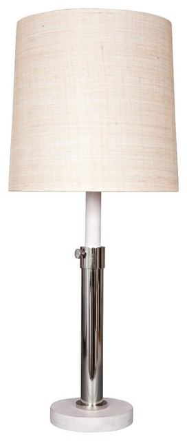 Contemporary Lummo Oliver White and Nickel Adjustable Table Lamp contemporary-table-lamps