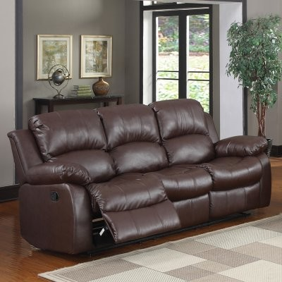 Newwell Leather Reclining Sofa - Brown modern-sofas