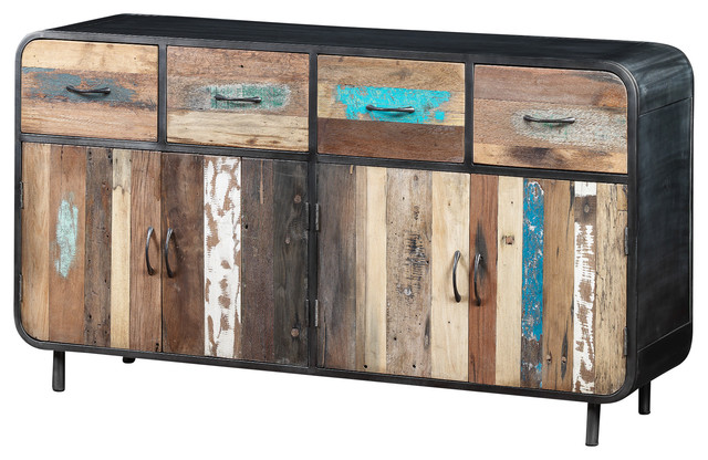 Large Sideboard Made of Recycled Boat Wood and Industrial Metal - Industrial - Buffets And ...
