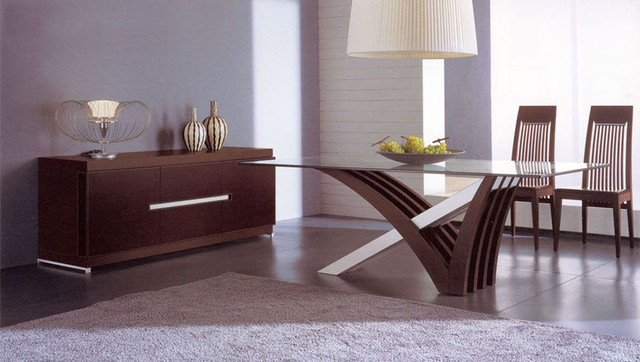 Luxury in Wood and Clear Glass Top Leather Italian Dining Room Furniture contemporary dining tables
