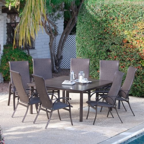 Square Table Seats 8: Coral Coast Bellagio Wicker Square Patio Dining Set