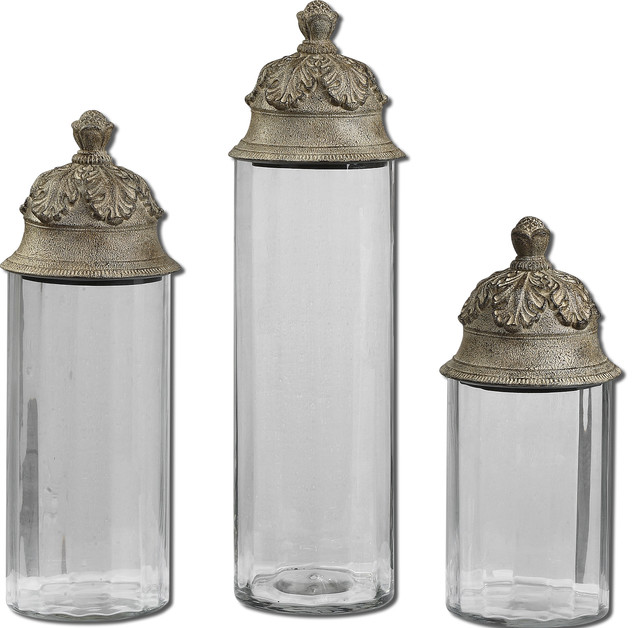Acorn glass cylinder canisters set of 3 traditional for Hearth and home designs canister set