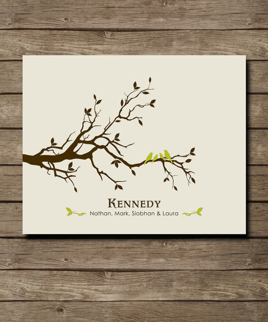 Personalized custom love bird family tree wall art by for Word wall art