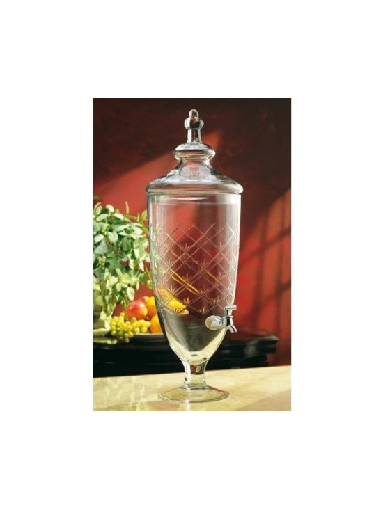 Georgetown Diamond Design Drink Juice Dispenser - For those who love to entertain, fill our beverage dispenser with iced tea, or any one of your favorite cold beverages. This beautiful beverage jar serves as an elegant decorative accessory when not entertaining. Ample 1.85 gallon (236 oz) capacity.