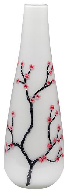 Handmade Glass Cherry Blossom Vase asian-vases