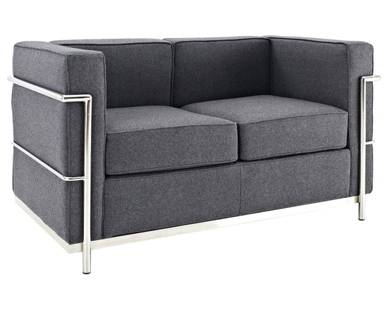 LexMod - Le Corbusier Style LC2 Loveseat in Dark Gray Wool - Urban life has always a quandary for designers. While the torrent of external stimuli surrounds, the designer is vested with the task of introducing calm to the scene. From out of the surging wave of progress, the most talented can fashion a force field of tranquility.