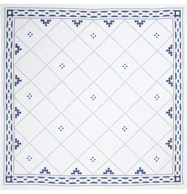 Anfa Blue and White Linen Square Tablecloth farmhouse-tablecloths