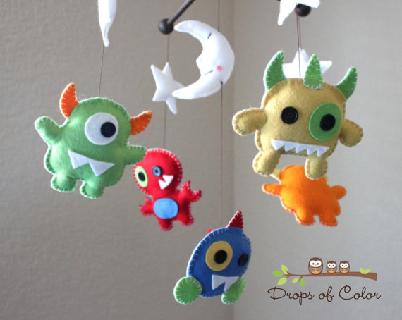 Nursery Monsters Mobile by Drops of Color contemporary mobiles