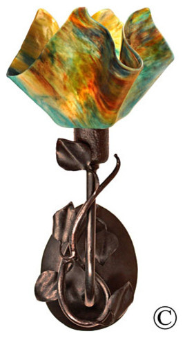 Signature Branch Sconce with Magnolia Leaves - Daylily Flame Style Glass with Br modern-wall-lighting