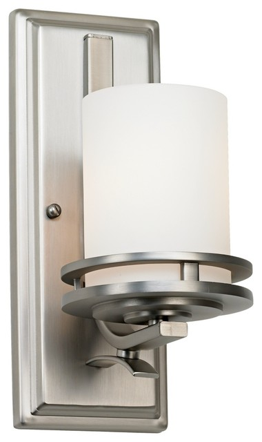 """Contemporary Hendrik Nickel Etched Glass 12"""" High Wall Sconce contemporary-wall-sconces"""