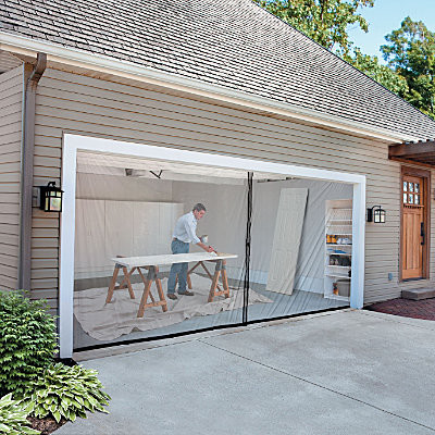 2 car garage screen kit 16 39 w x 7 39 tall contemporary for Tall garage doors