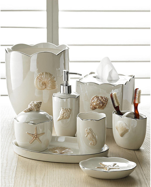 Marie shells in pearl bath accessories sets coastal style for Bathroom accessory sets