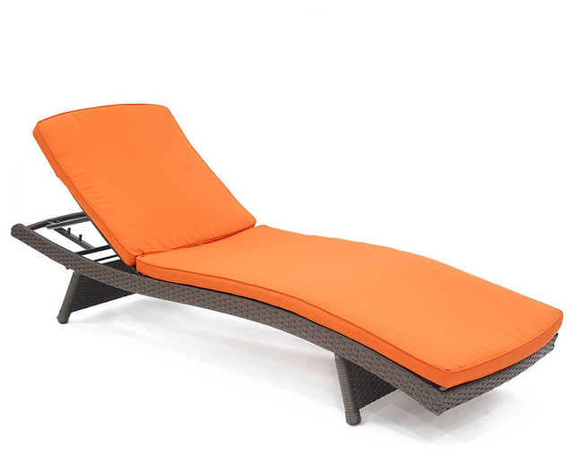Orange Adjustable Chaise Lounge Chair Contemporary Indoor Chaise Lounge C