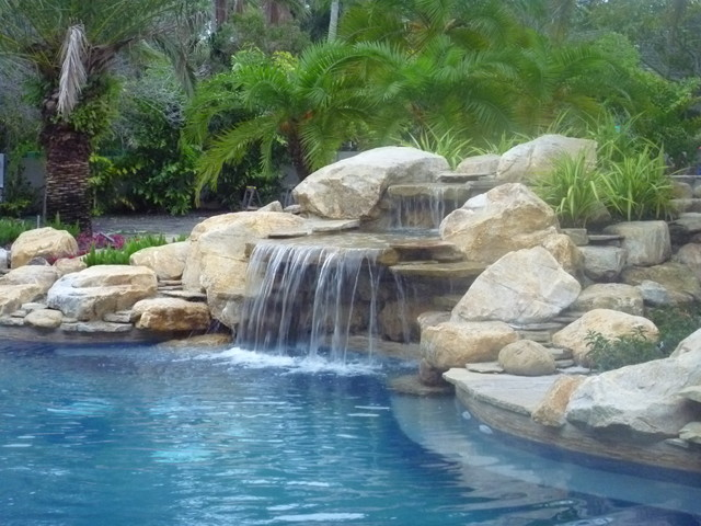 Contemporary Backyard Waterfalls : Waterfalls Fountains & Gardens