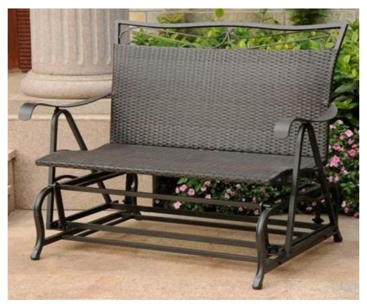 Double Patio Glider Chair in Antique Black Fi