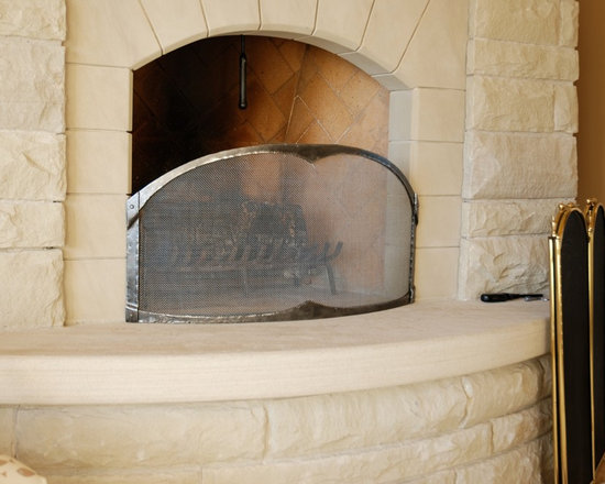 Fireplaces - Custom designed, hand forged, wrought iron fireplace screen.
