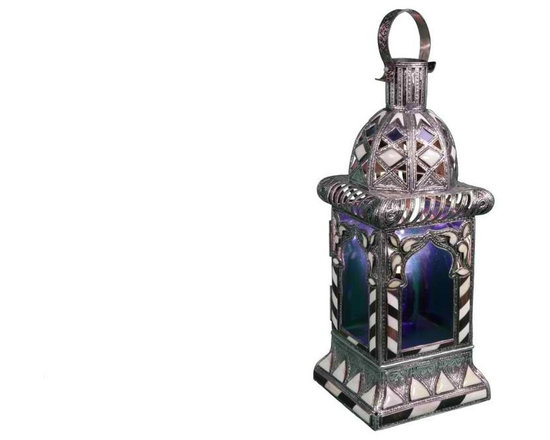 Hand-Crafted Moroccan Blue Glass Lantern - High quality, hand crafted and stylized Moroccan lamp that requires a great dexterity and precision, using a combination of engraved Berber metal, Iraqi glass and inlaid camel bone Berber designs.
