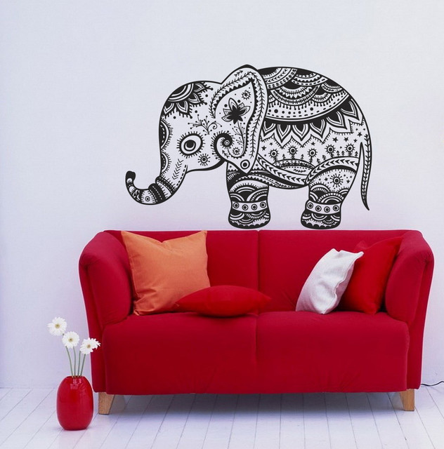 Wall vinyl decals animal vintage elephant patterns for Elephant wall mural