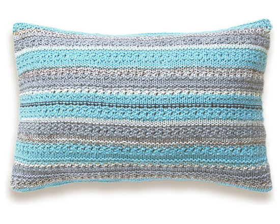 Knit Melange Pillow Cover In Beige Cream Gray Turquoise 12 x 18 inch Textured Wo -
