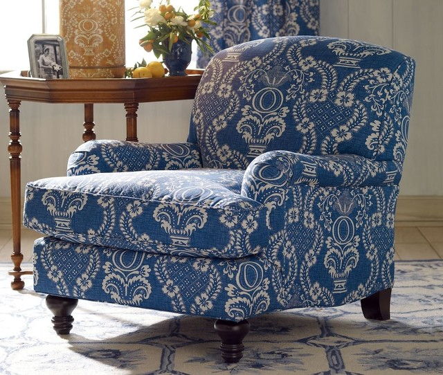 Normandy Nantes Blue Club Chair by Pierre Deux traditional-armchairs