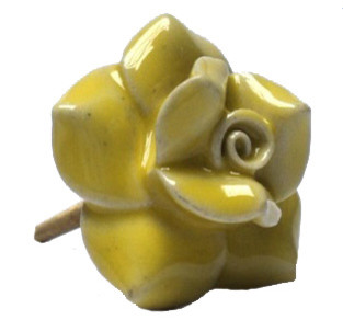 Ceramic Rose Knob, Yellow - Traditional - Cabinet And Drawer Knobs - by Modelli Creations