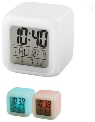 3 Inch LCD Time, Date, Day and Temperature Mood Light Alarm Clock modern-clocks