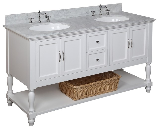 Beverly 60 Inch Double Sink Bath Vanity Carrara White Transitional Bathr