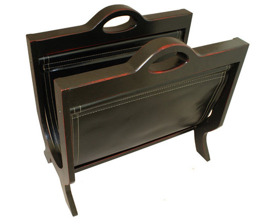 ecWorld - Handcrafted Decorative Wood & Leather Magazine Rack - Black Cherry - Fun and stylish, this magazine holder is perfect for bedroom, bathroom or living room. Organize while decorating with this beautiful and practical magazine rack. This rack offers an elegant way to keep reading material close at hand. Add this fun piece of decor to your home to help wrangle those unwieldy magazines - you'll love it!