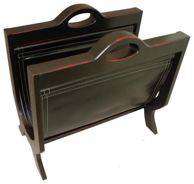 handcrafted decorative wood leather magazine rack black cherry magazine racks by ecworld. Black Bedroom Furniture Sets. Home Design Ideas