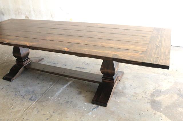 Heirloom pedestal trestle dining table traditional for Pedestal trestle dining table plans