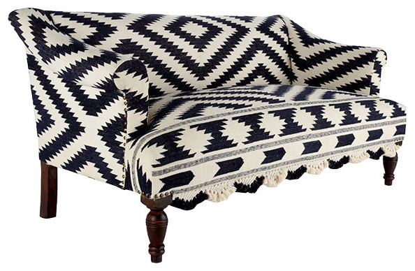 Wooden Upholstered Sofa with Bridal Rug traditional-sofas