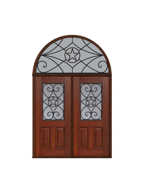 "Prehung Transom Double Door 80 Fiberglass Austin Texas Star - SKU#    MCT012WA_DFHAG2-HRAGBrand    GlassCraftDoor Type    ExteriorManufacturer Collection    1/2 Lite Entry DoorsDoor Model    AustinDoor Material    FiberglassWoodgrain    Veneer    Price    3925Door Size Options    2(36"")[6'-0""]  $0Core Type    Door Style    Texas StarDoor Lite Style    1/2 LiteDoor Panel Style    2 PanelHome Style Matching    Door Construction    Prehanging Options    PrehungPrehung Configuration    Double Door and Half Round TransomDoor Thickness (Inches)    1.75Glass Thickness (Inches)    Glass Type    Double GlazedGlass Caming    Glass Features    Tempered glassGlass Style    Glass Texture    Glass Obscurity    Door Features    Door Approvals    Energy Star , TCEQ , Wind-load Rated , AMD , NFRC-IG , IRC , NFRC-Safety GlassDoor Finishes    Door Accessories    Weight (lbs)    876Crating Size    36"" (w)x 108"" (l)x 89"" (h)Lead Time    Slab Doors: 7 Business DaysPrehung:14 Business DaysPrefinished, PreHung:21 Business DaysWarranty    Five (5) years limited warranty for the Fiberglass FinishThree (3) years limited warranty for MasterGrain Door Panel"