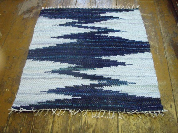 Hand Woven Rag Rug Dark Blue Light Blue Zigzag By Gunas