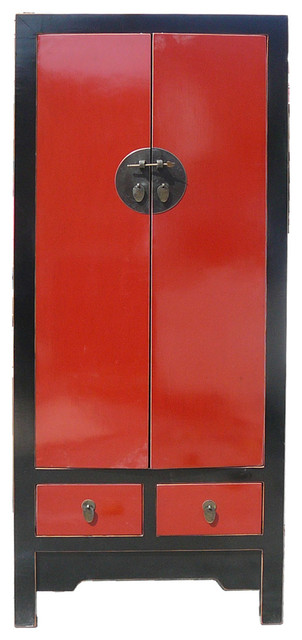Chinese Red & Black Lacquer Armoire Wardrobe Cabinet - Asian - Armoires And Wardrobes - by ...