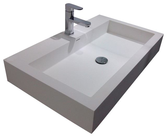 ... Wall Hung Stone Resin Sink, White, Glossy contemporary-bathroom-sinks