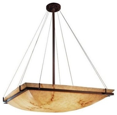 Justice Design Group LumenAria FAL-9794-25-DBRZ 36 in. Square Pendant Bowl with modern-ceiling-lighting