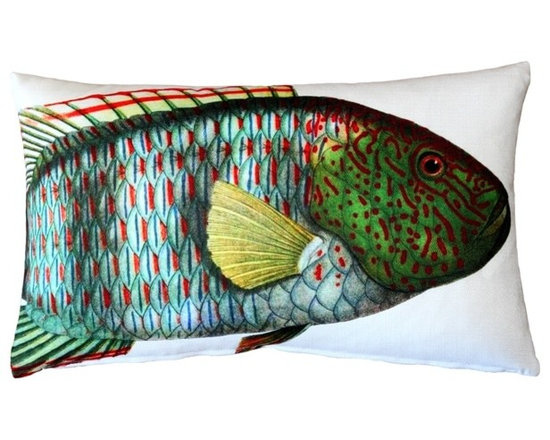 Pillow Decor - Pillow Decor - Maori Wrasse Fish Pillow 12 x 20 - This double sided Maori Wrasse decorative pillow is printed on both sides with the head and body of the fish on the front and the tail on the back. Printed on an indoor outdoor spun polyester fabric.