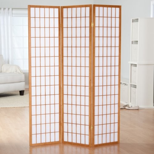 CK Group Simora Honey Shoji 3 Panel Room Divider with Optional Stand contemporary-screens-and-room-dividers
