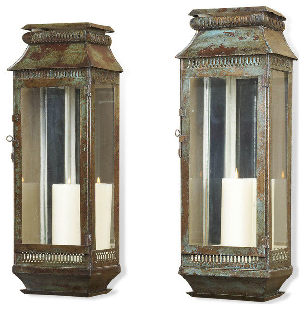 Wall Sconces Candles Lantern : Modena Tall Moroccan Rustic Pair Wall Sconce Lanterns - Transitional - Candles And Candleholders ...