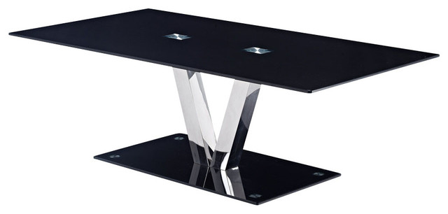 Global Furniture Usa T655 Rectangular Black Glass Coffee Table With Chrome Legs Traditional