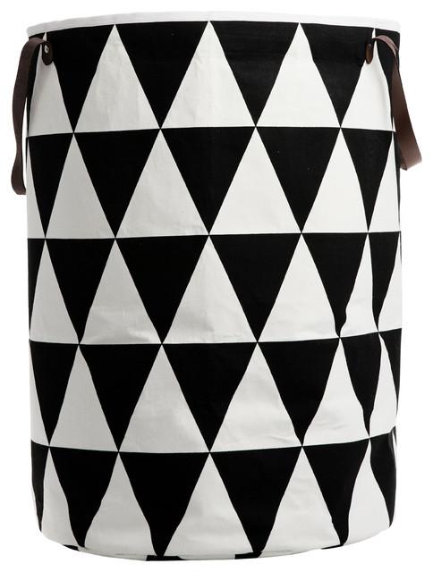 Triangle Laundry Basket, Black contemporary-baskets