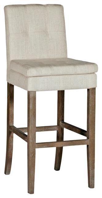 Conrad Tufted Linen Square Back Bar Stool rustic-bar-stools-and-counter-stools