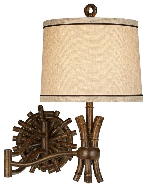 Wall Sconces Tropical : Pacific Coast Bamboo Sailor Wall Sconce, Deep Walnut Stain - Tropical - Wall Sconces - by ALCOVE ...
