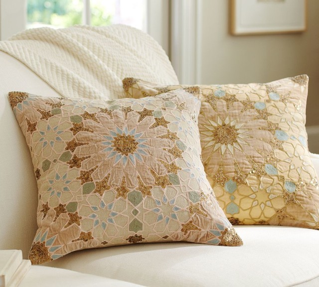 Sofia Tile Sequined Embroidered Pillow Cover - Traditional - Decorative Pillows - other metro ...