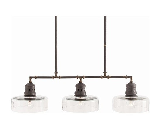 Arteriors Wheeler 3 Light Natural Iron/Brass/Glass Pendant - Wheeler 3 Light Natural Iron/Brass/Glass Pendant