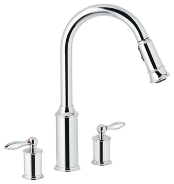 Moen 7592c Aberdeen Two Handle High Arc Pullout Kitchen Faucet In Chrome Traditional Kitchen